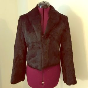 Black fur coat 100% rabbit